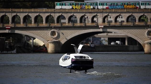 The image shows an hydrofoil boat SeaBubble on the Seine river in Paris.(AP File photo)