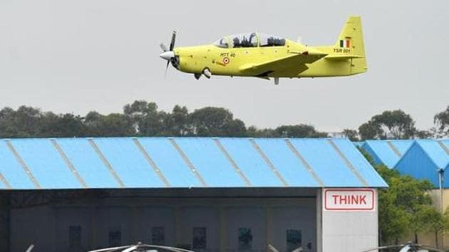 A Hindustan Turbo Trainer-40 (HTT-40) aircraft developed by Hindustan Aeronautics Limited (HAL) takes part in a test flight in the Indian city of Bangalore in June 17, 2016. IAF is set to send a request for proposal (RFP) to HAL for the indigenous Hindustan Turbo Trainer-40 (HTT-40) before the end of the year, senior IAF officers said .(AFP File Photo)