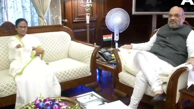 West Bengal Chief Minister and Trinamool Congress leader Mamata Banerjee met Union Home Minister Amit Shah.(ANI photo)