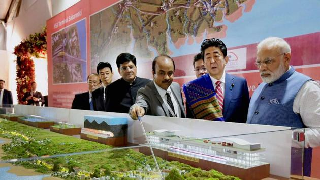 Prime Minister Narendra Modi with his Japanese counterpart Shinzo Abe during the Ground Breaking ceremony of Mumbai-Ahmedabad High Speed Rail Project, in Ahmedabad(PTI FILE)