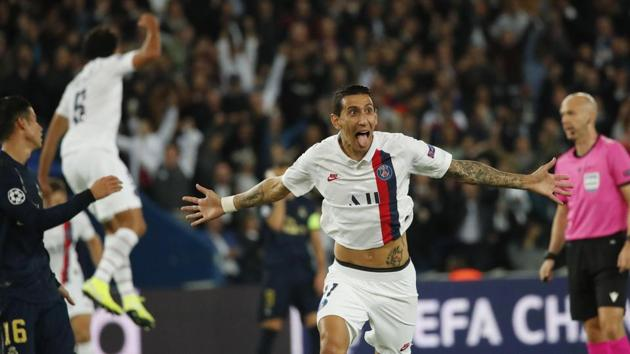 Paris: PSG's Angel Di Maria celebrates after scoring his side's second goal during the Champions League group A soccer match between PSG and Real Madrid at the Parc des Princes stadium in Paris, Wednesday, Sept. 18, 2019.(AP)