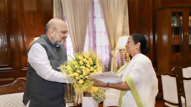 West Bengal Chief Minister Mamata Banerjee meets Home Minister Amit Shah at his office, at North Block in New Delhi(PTI Photo)