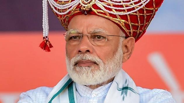 Prime Minister Narendra Modi looks on during the 'Vijay Sankalp Rally' in Nashik(PTI)