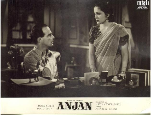 Devika Rani, who co-produced Anjan with her husband Himanshu Rai, also starred in it opposite Ashok Kumar. Her life story is the subject of the play Devika Rani Goddess of the Silver Screen! which includes new details of her extraordinary life.(National Film Archives of India)