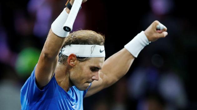 Team Europe's Rafael Nadal celebrates winning his singles match against Team World's Milos Raonic.(REUTERS)