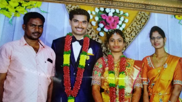 Mounika with her husband Harikanth Reddy at her wedding reception last year.(HT PHOTO)