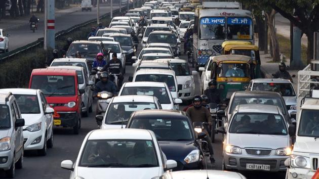 Before the Covid-19 lockdown, traffic jams were routine in Chandigarh.(HT Photo)
