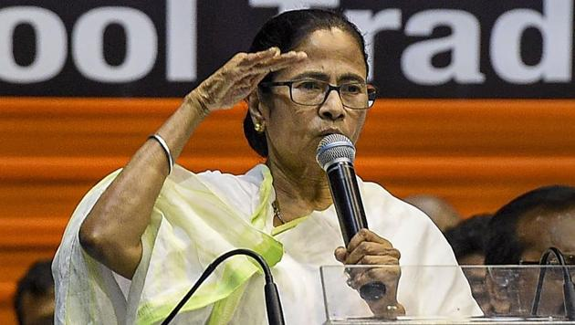 West Bengal Chief Minister Mamata Banerjee addresses during the Indian National Trinamool Trade Union Congress (INTTUC) rally, in Kolkata, Monday.(PTI)