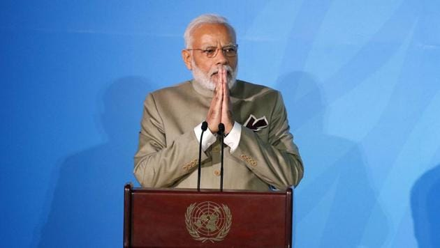 """The need, Modi said, is a comprehensive approach that """"covers education, values and everything from lifestyle to developmental philosophy"""".(AP)"""