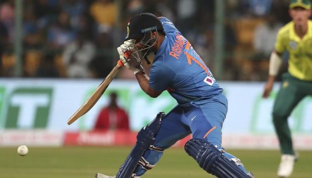 India's Rishabh Pant plays a shot(AP)