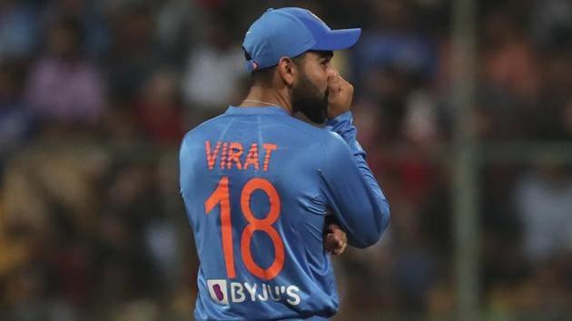 India's captain Virat Kohli reacts after an unsuccessful review.(AP)
