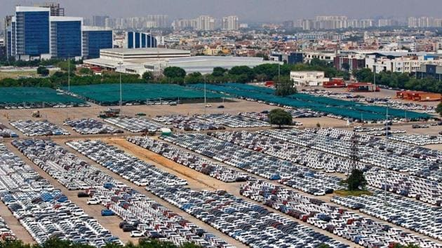 Thousands of unsold cars lie at the Maruti plant in Manesar. The area houses more than 1,000 automotive manufacturing companies, which employ several thousand workers who have been retrenched due to the slowdown in the industry.(Yogendra Kumar/HT PHOTO)