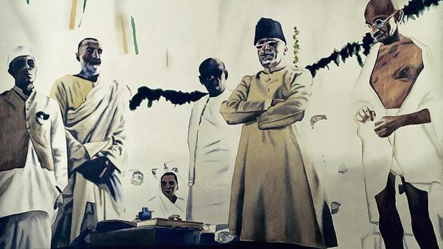 An artwork of Atul Dodiya, for whom Gandhi has been an abiding passion for more than two decades.