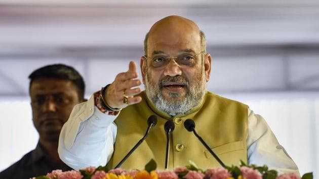 New Delhi: Union Home Minister Amit Shah speaks during the laying of the foundation stone for the Janganana Bhawan, in New Delhi.(Photo: PTI)