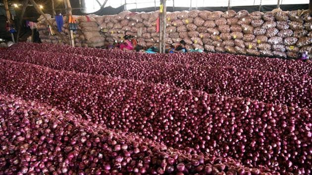 Heaps of onions at UP State Warehouse in Navi Mumbai, Monday. Onion prices are spiralling across the country, reportedly, due to shortage of supply.(Photo: PTI)