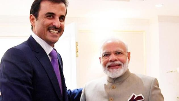 Prime Minister Narendra Modi shakes with Emir of Qatar, Tamim bin Hamad Al Thani during a bilateral meeting in New York on Monday.(PTI Photo)