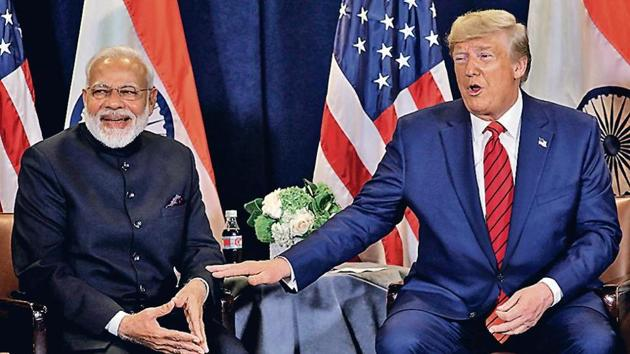 Prime Minister Narendra Modi and US President Donald Trump in New York on Tuesday.(Eeuters)