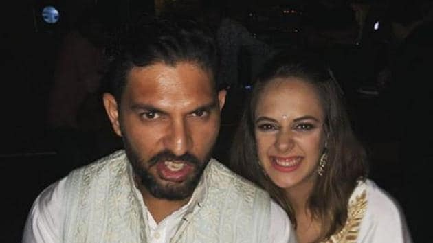 Hazel Keech with husband, cricketer Yuvraj Singh.