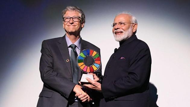 PM Modi received the Bill and Melinda Gates Foundation Award, September 25, 2019.(Photo: Twitter/@narendramodi)