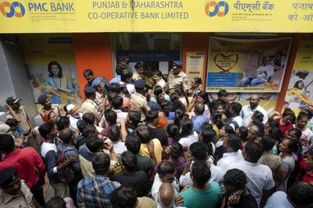 PMC bank account gathered outside the bank at Bhandup after RBI imposed restrictions on PMC Bank; withdrawal restricted to Rs 1,000 per account in Mumbai on September 24, 2019.(Satish Bate/HT Photo)
