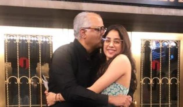 Boney Kapoor poses with daughter and actor Janhvi Kapoor.