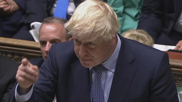 Boris Johnson sparked fury after he appeared to be goading opposition MPs with words and terms associated with conflict and war.(AP photo)