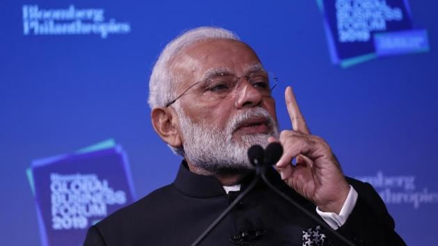Indian Prime Minister Narendra Modi speaks during the Bloomberg Global Business Forum in New York .(Reuters Photo)