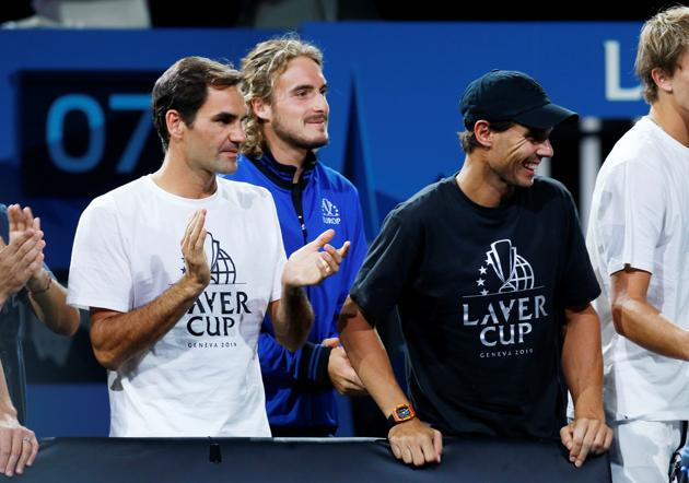 Stefanos Tsitsipas, Roger Federer and Rafael Nadal during the Laver Cup.(REUTERS)