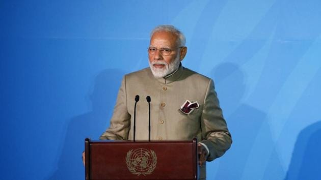 Prime Minister Narendra Modi inaugurated the Gandhi Solar Park at UN Headquarters in New York during a Gandhi@150 commemorative event on Tuesday to mark Mahatma Gandhi's 150th birth anniversary and India's global leadership in renewable energy.(AP)