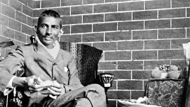 Gandhi recovering after being beaten up by a fellow Indian who felt that Gandhi had made a wrong compromise with South African officials, 1908(National Gandhi Museum)