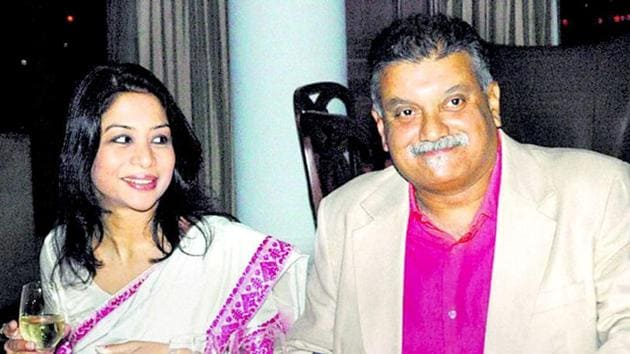 Indrani Mukerjea and her husband Peter Mukerjea seen in this file photo. Peter is in jail since his arrest in November 2015(HT Photo/File)