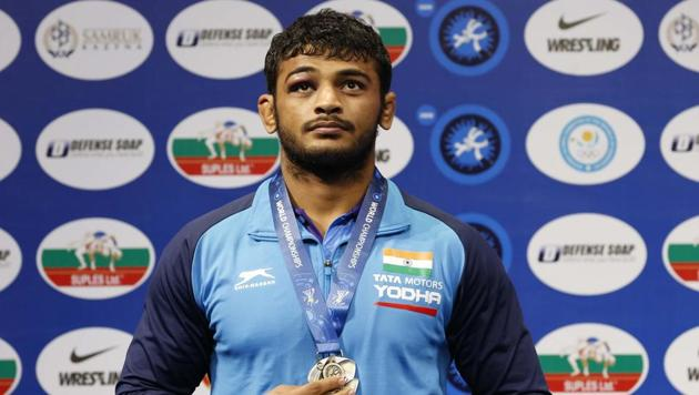 Deepak Punia during the medal ceremony at the men's 86kg category during the Wrestling World Championships in Nur-Sultan.(AP)