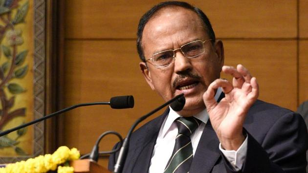 NSA Ajit Doval on Thursday cautioned the security establishment against large-scale infiltration attempts in Kashmir(Mohd Zakir/HT PHOTO)