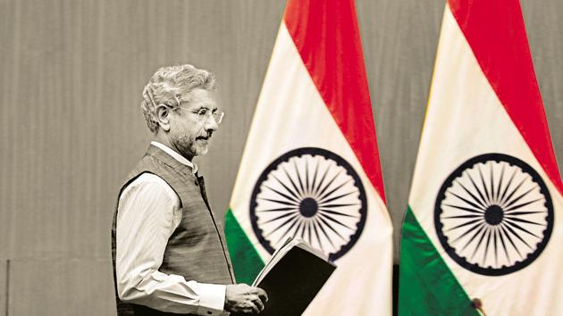 Indian External Affairs Minister Subrahmanyam Jaishankar arrives to address a press conference to mark 100 days since Prime Minster Narendra Modi's new term in office in New Delhi, India, Tuesday, Sept.17, 2019. (AP Photo/Manish Swarup)(AP)