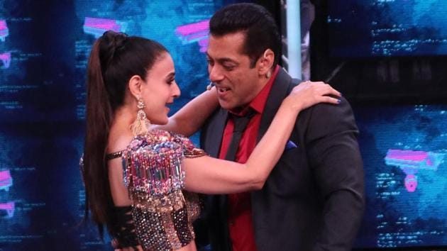 Bigg Boss 13 Premiere highlights: Salman Khan and Ameesha Patel in a still from the premiere episode.
