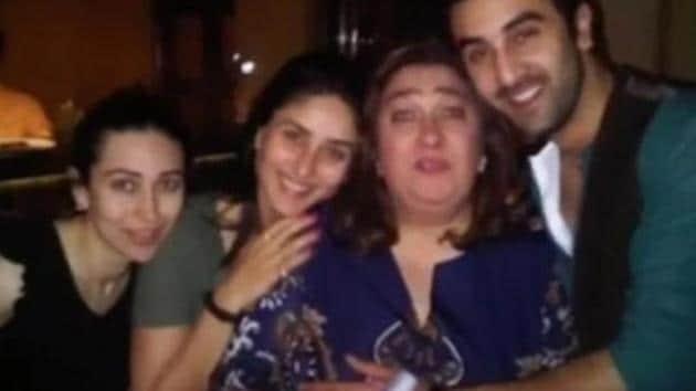 Ranbir Kapoor poses with Kareena and Karisma.(Instagram)