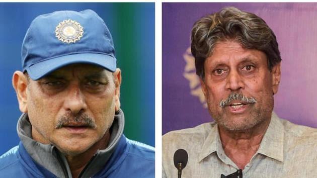 Ravi Shastri (L) and CAC head Kapil Dev (R)(HT Collage)