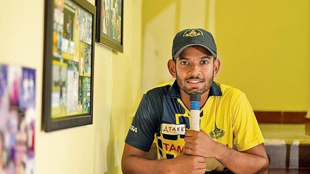 Indian software developer and Cricketer Kaushik Gandhi poses for a picture at his residence in Chennai(Amal KS/ Hindustan Times)