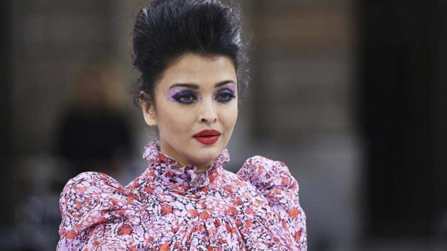 Aishwarya Rai wears a creation as part of the L'Oreal Ready To Wear Spring-Summer 2020 collection, unveiled during the fashion week, in Paris.(AP)