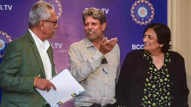 The three-members of Cricket Advisory Committee (CAC) Kapil Dev, Anshuman Gaekwad and Shantha Rangaswamy during a press conference in Mumbai.(PTI)