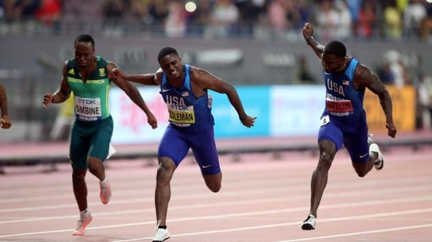 Christian Coleman of the U.S. wins the 100 Metres final at World Athletics Championships.(REUTERS)