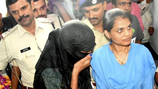Monica Yadav, one of the accused in honey trap gang case who was arrested on Thursday.(PTI Photo)