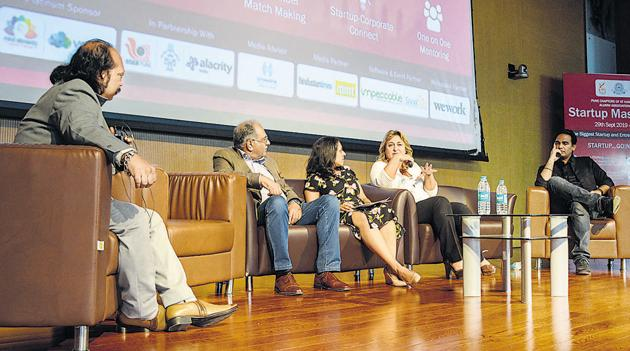 Nitin Parab, Girish Bhagat, Vandana Saxena, Francesca Vitale and Jeet Vijay during the panel discussion on startup synergies in a borderless world at Startup Master Class, IISER, Pashan, on Sunday.(Milind Saurkar/HT Photo)