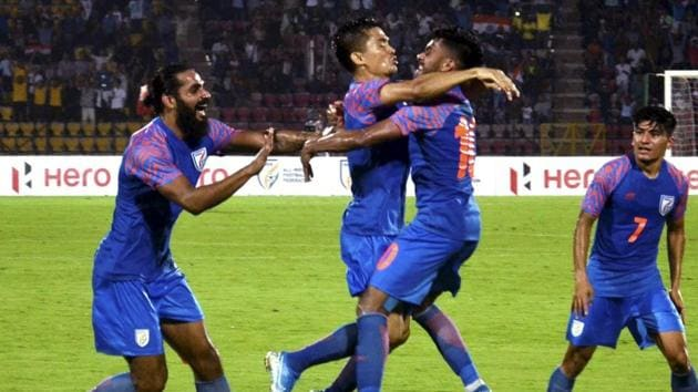 File photo of Indian football team in action.(PTI)