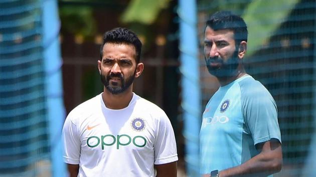 Indian cricket team test players Ajinkya Rahane, Cheteshwar Pujara at a practice session.(PTI)