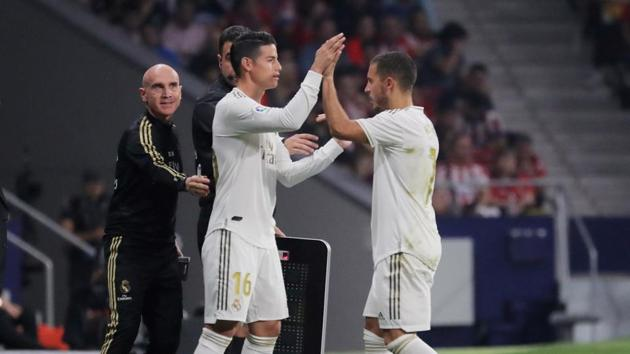 Real Madrid's James Rodriguez comes on as a substitute to replace Eden Hazard.(REUTERS)