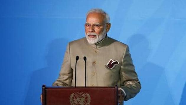 Mr Modi spoke in many Indian languages to convey to the audience, and to the millions watching on television, that all was well back home(Photo: AP)