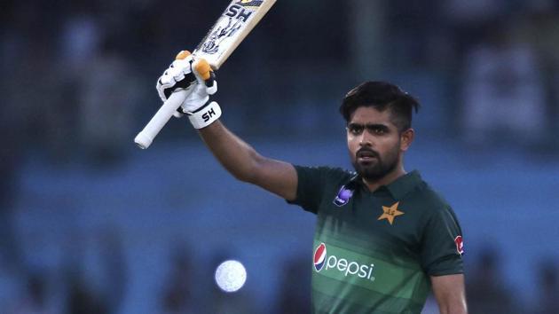Pakistan's batman Babar Azam celebrates his century.(AP)