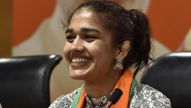 In the upcoming Haryana assembly elections 2019, wrestler Babita Phogat will contest from Dadri.(Sanjeev Verma/HT PHOTO)