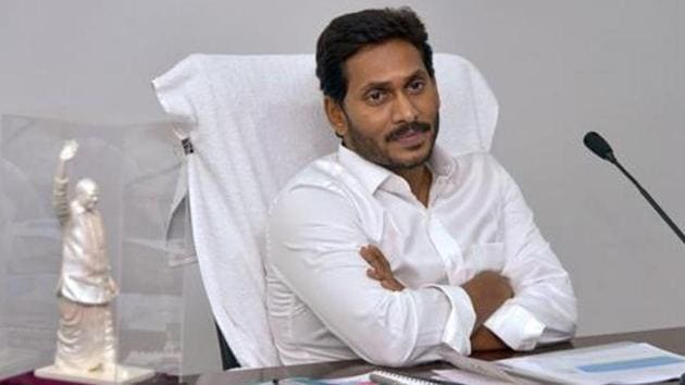 YSRC president and chief minister Y S Jagan Mohan Reddy on Monday handed over appointment letters to the newly-appointed village secretaries.(PTI PHOTO.)